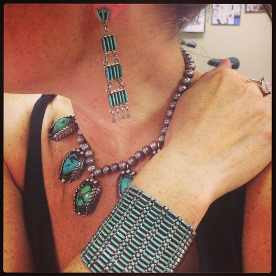 Vintage turquoise jewelry from Amanda's personal collection...