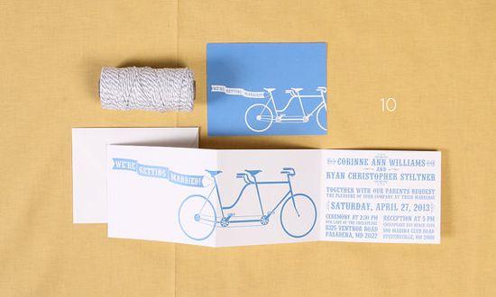 bicycle themed wedding ideas - wedding invitations