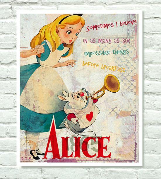 *WHITE RABBIT & ALICE ~ Alice in Wonderland, 1951, poster