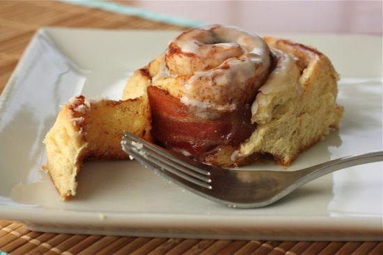 Bacon in a cinnamon roll
