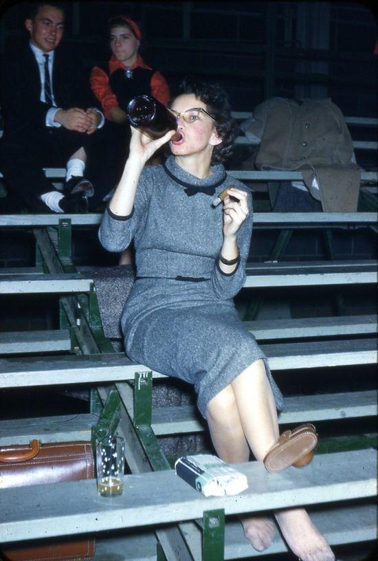 1950s, bleachers, cat eye glasses