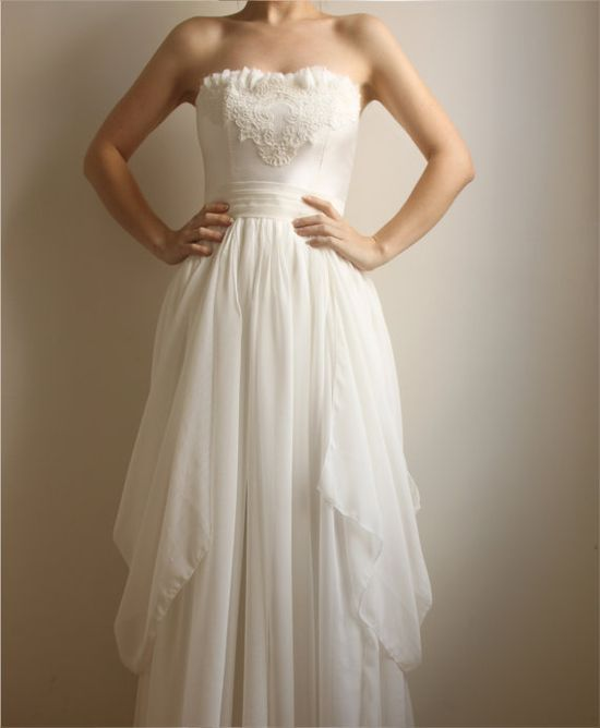 Beverly silk lace wedding gown