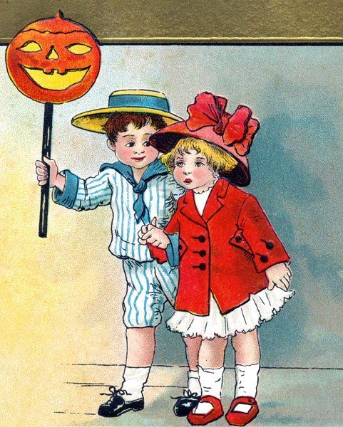My Public Domain Vintage Halloween Clipart, Free to Download, Pumpkin Lamp