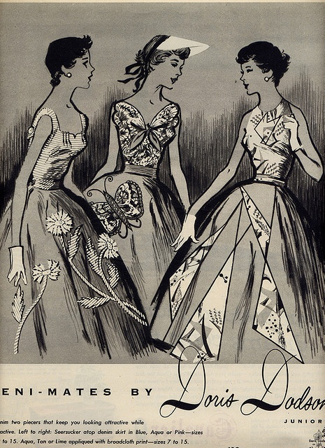Three absolutely beautiful 1950s Doris Dodson summer dresses (I ? the butterfly one in the middle the most). #vintage #dress #summer #flowers #butterflies #fashion #1950s