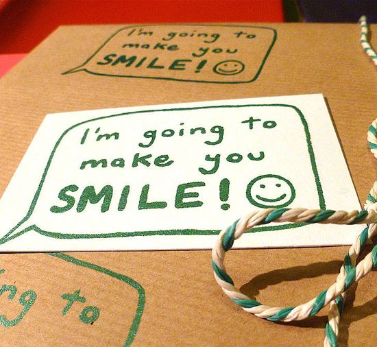 Handmade make you smile! gift wrapping paper by indigo elephant  $5.95