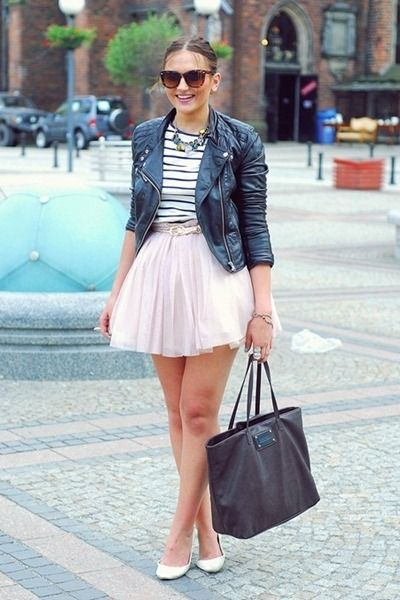 Leather jacket and pink tutu skirt.
