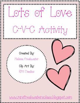 Free C-V-C valentine 9 page activities