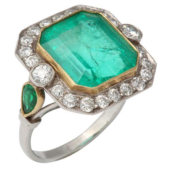 Vintage Jewelry Art Deco Emerald and diamond ring www.finditforwedd...