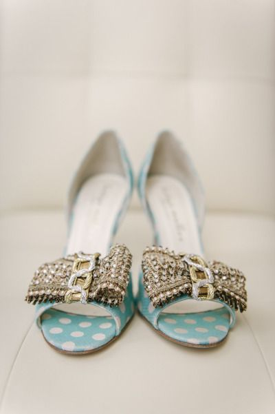 Shoes, shoes, shoes. These turquoise polka dot numbers are calling our name