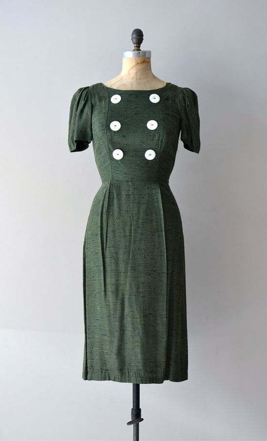 vintage 1940s Elodea button dress    #1940s #vintagedress