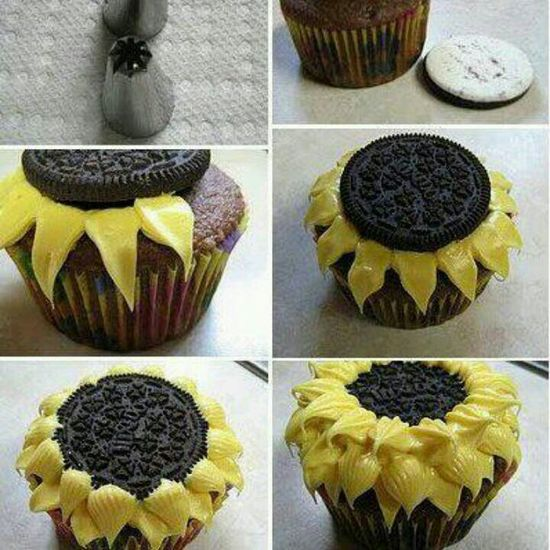 Sunflower cupcakes @Ashley Woodland Ashley Woodland