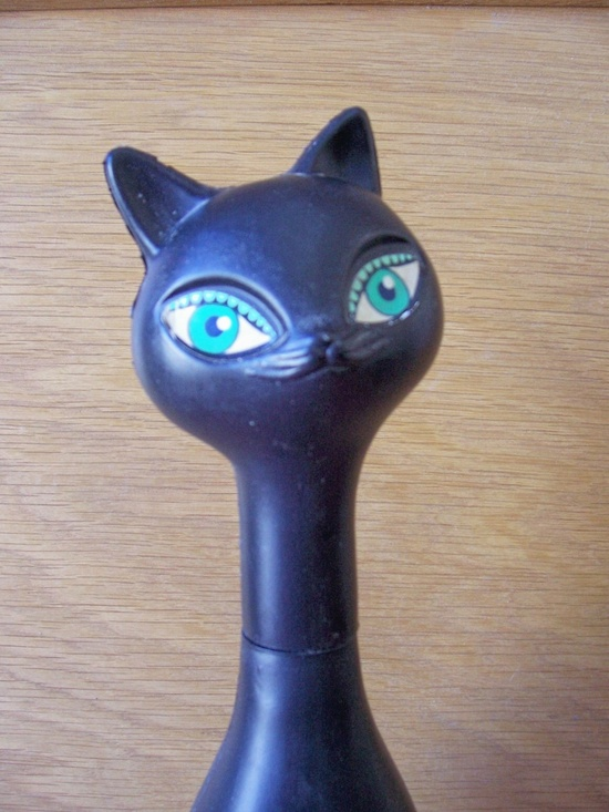 1960s plastic Siamese cat bubble bath bottle. I remember mine being pink!  Grandma always used to get these for us grandkids.