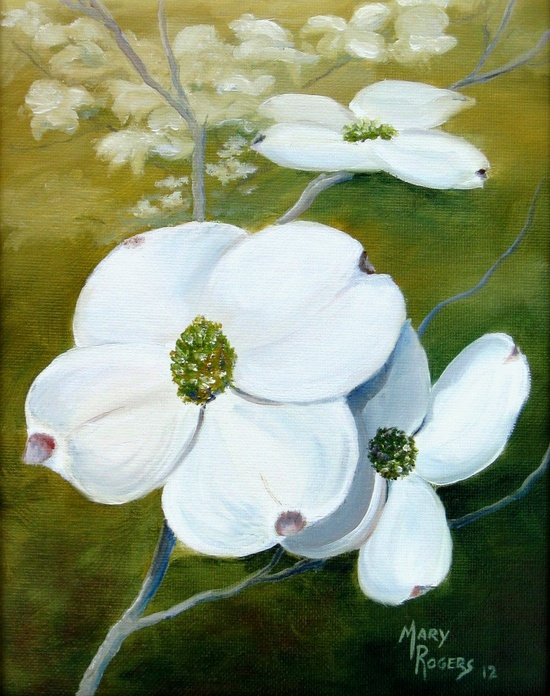 Dogwood Blossoms  Original Oil Painting by Mary by sweetteadesigns, $52.00