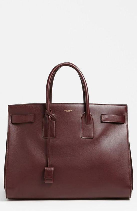 Lux fall handbag: Saint Laurent leather tote in bordeaux