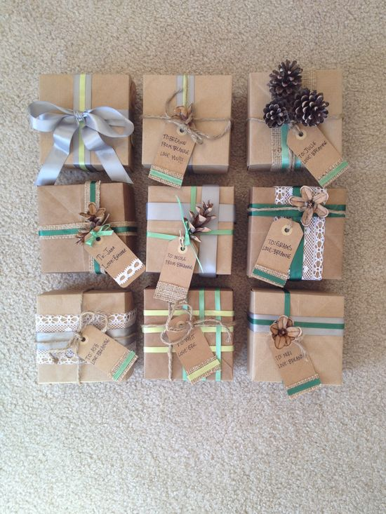 Love using kraft paper as gift wrap.