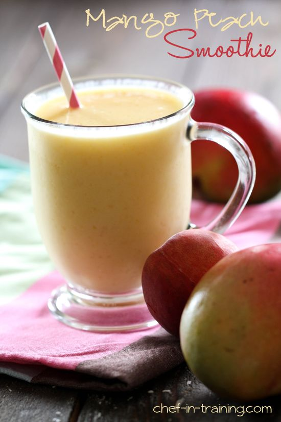 Mango Peach Smoothie from chef-in-training.com ....This is so delicious and the perfect way to cool down this summer!