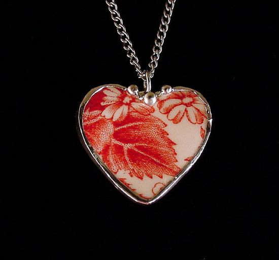 Johnson bros Strawberry Fair red toile. Broken china jewelry pendant necklace. Made from a broken china plate by Dishfunctional Designs