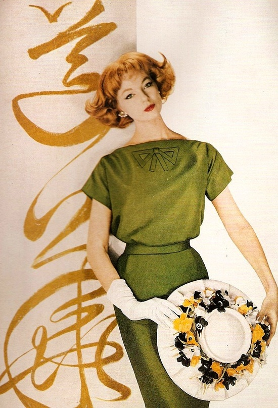 Ivy Nicholson in a dress by Oleg Cassini and hat by Sally Victor, photo by Louise Dahl-Wolfe for Harper's Bazaar April 1958