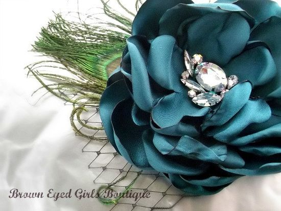 Peacock Blue Wedding Hair Accessory by browneyedgirlsboutiq, $35.00