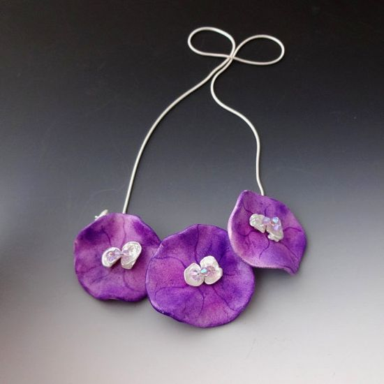 Jewelry Necklace Abstract Floral Fuchsia by CalliopeAZCreations, $68.00