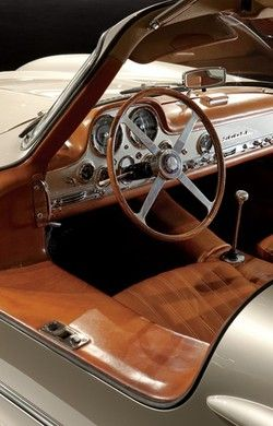 Classic brown leather car interior