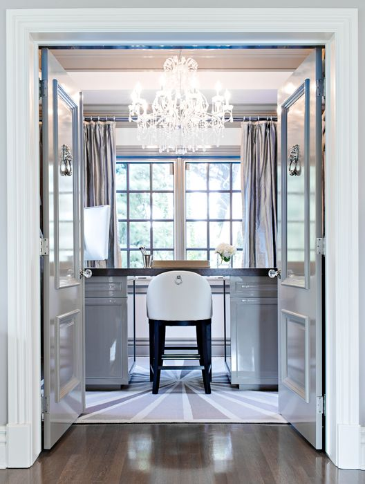 Glam gray home office