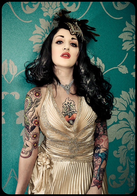 Classic tattoo style sleeves.