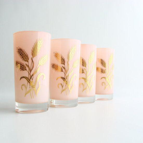 pink & gold vintage glassware