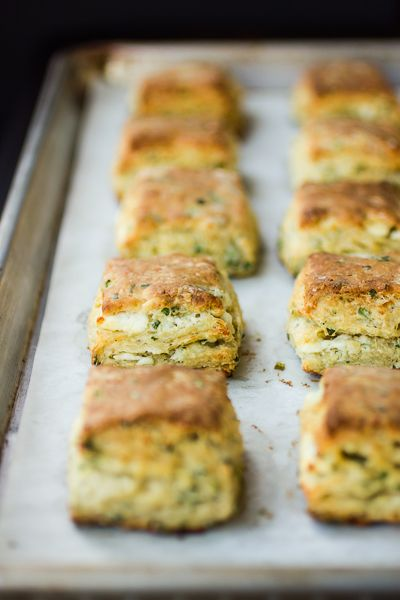 Flaky Goat Cheese Chive Biscuits