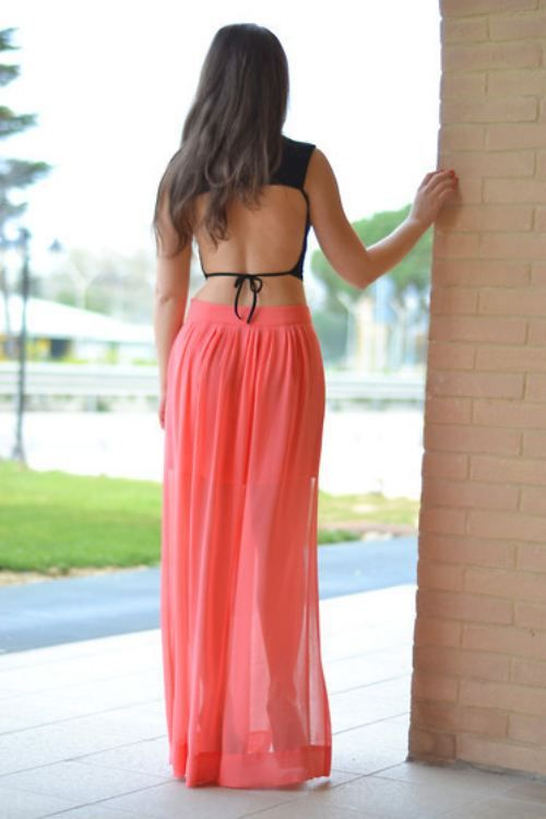 Backless top with coral maxi skirt