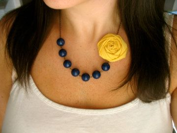Navy and yellow fabric flower necklace by HappyLittleLovelies, $26.00