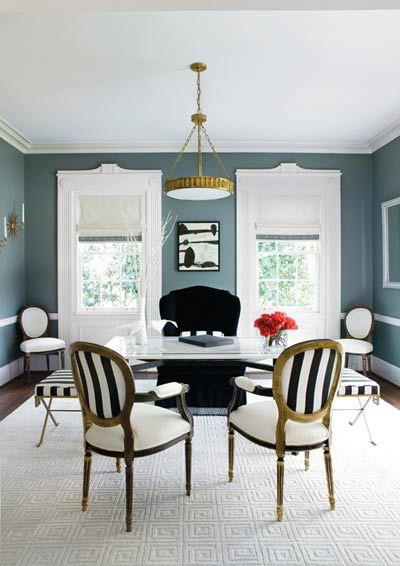Office inspiration . . . I ? the b furniture  and accents with the slate-blue walls!