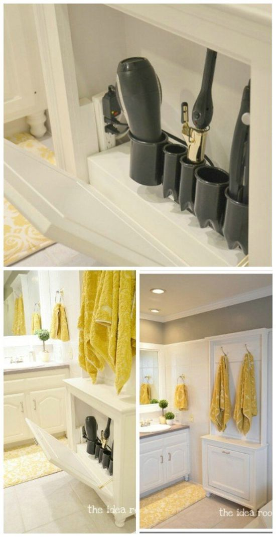 30 Brilliant Bathroom Organization and Storage DIY Solutions - Keeping your hair styling tools up and out of the way not only saves space but helps you to keep them from getting damaged. You can easily build storage for hair tools inside a cabinet with just a few key essentials.