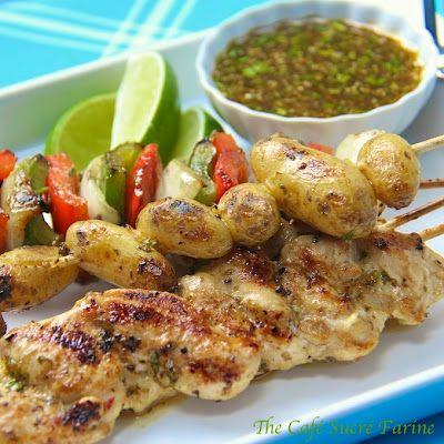 Grilled Chicken, Pepper & Potato Kabobs with Honey-Cumin Glaze