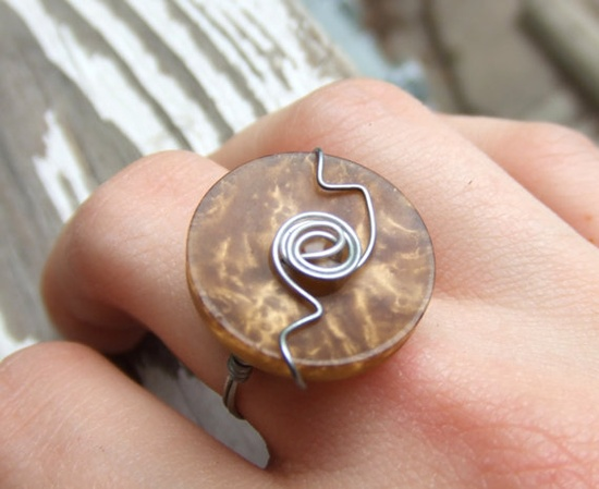 Another beautiful wire wrapped vintage button ring! #etsy @Etsy! @Everything Etsy #jewelry #vintage #button #handmade #ring
