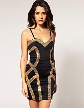 Lipsy Bandeau Dress With Sequin Contour Detail $62.67- us.asos.com/....
