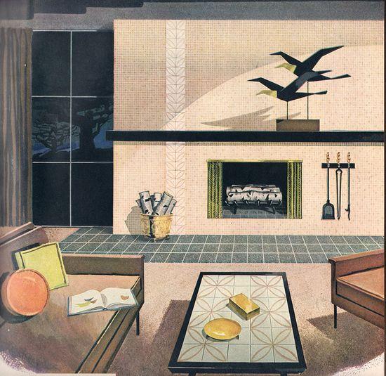 Mid-century living room elegance.
