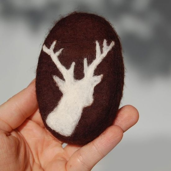 Felted Soap Brown Soap with White Deer Sandalwood Scent by SoFino, $18.00