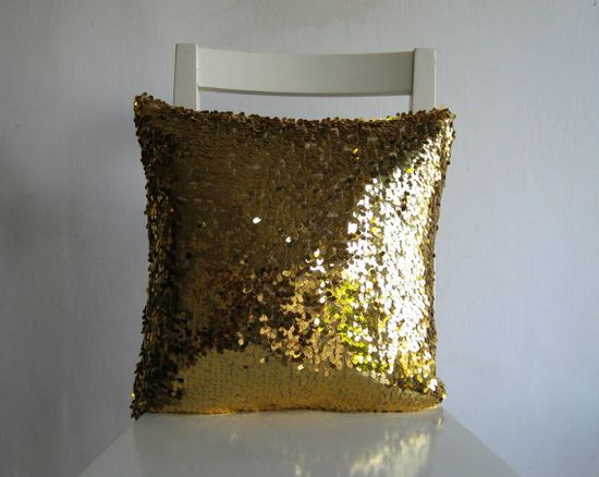 Gold Sequins 16x16  Pillow Cover  Glitter Sparkly by pillow1, $45.00