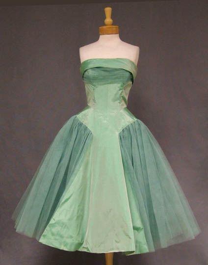 1950's mint taffeta and tulle dress VINTAGEOUS.COM