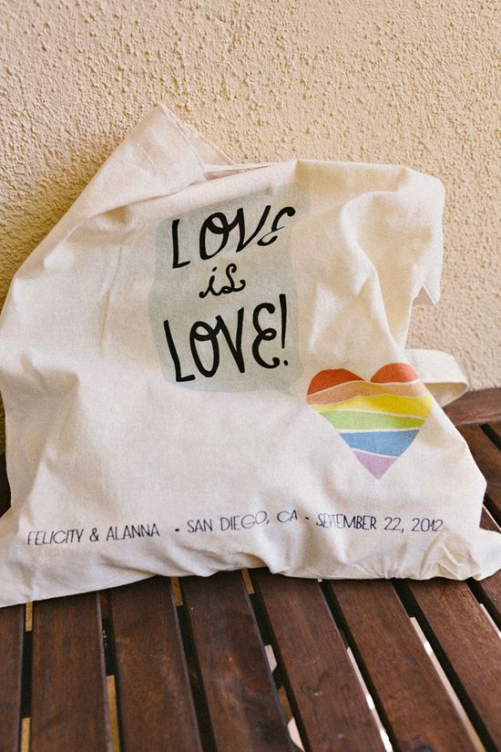 """Love is love"" same sex wedding tote."