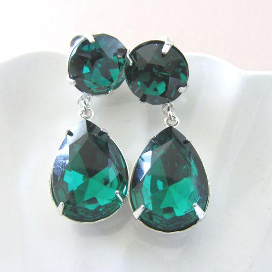 Post Emerald Green Earrings Estate Style by RachellesJewelryBox