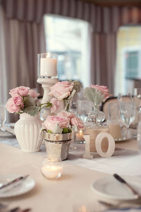 Gorgeous pink & white centerpieces.