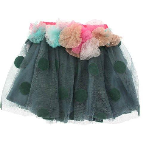 Billieblush Baby Girls Green Polka Dot Tulle Skirt