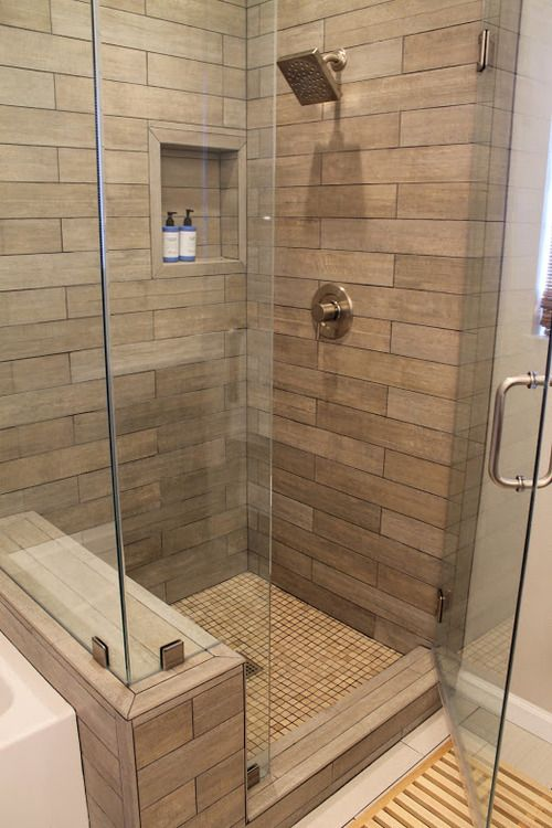 faux wood tile in modern shower design