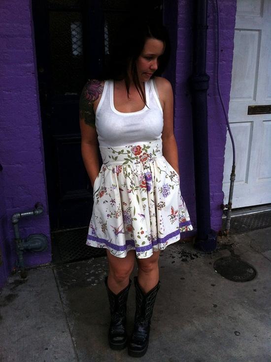 Violet Floral Highwaisted Skirt OOAK