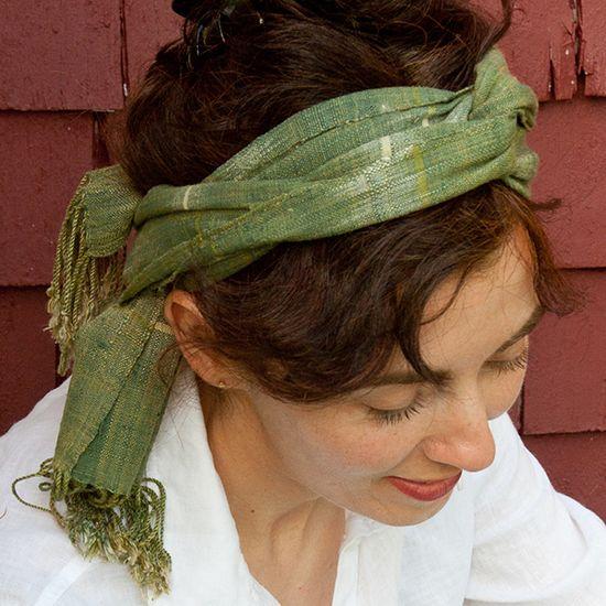 Hint of Japan Mango Green Organic Silk Scarf, Tammachat /// TAFA Market, Green Collection /// www.tafaforum.com...