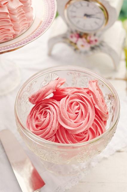 Deeply lovely pink Raspberry Rose Meringues. #wedding #shabby #chic #birthday #pink #cookies #meringues #raspberry #rose #food #dessert