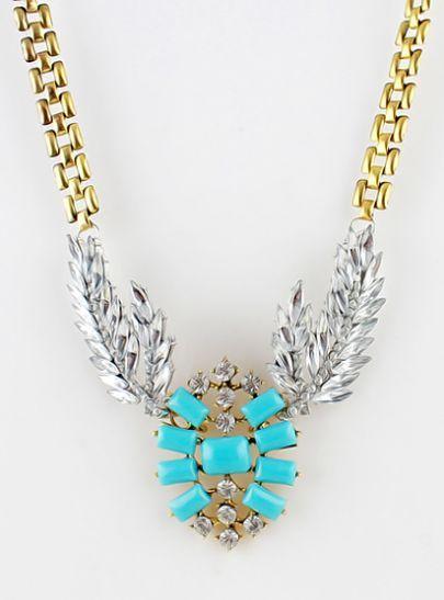 Blue Gemstone Gold Diamond Leaf Necklace