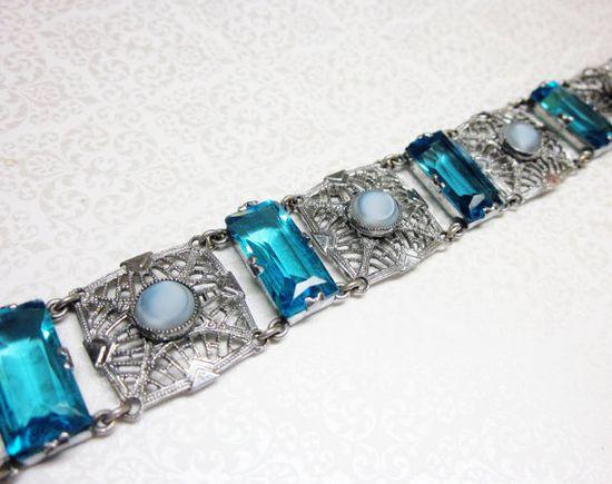 Art Deco Bracelet Silver Filigree Blue Glass Open Back Moonglow Lucite Vintage 1930s Jewelry